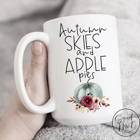 Autumn Skies And Apple Pies Mug - Blue Pumpkin Fall / Cup
