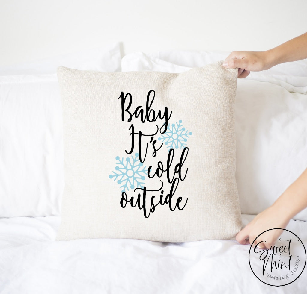 Baby Its Cold Outside Blue Snowflake Pillow Cover - 16 X