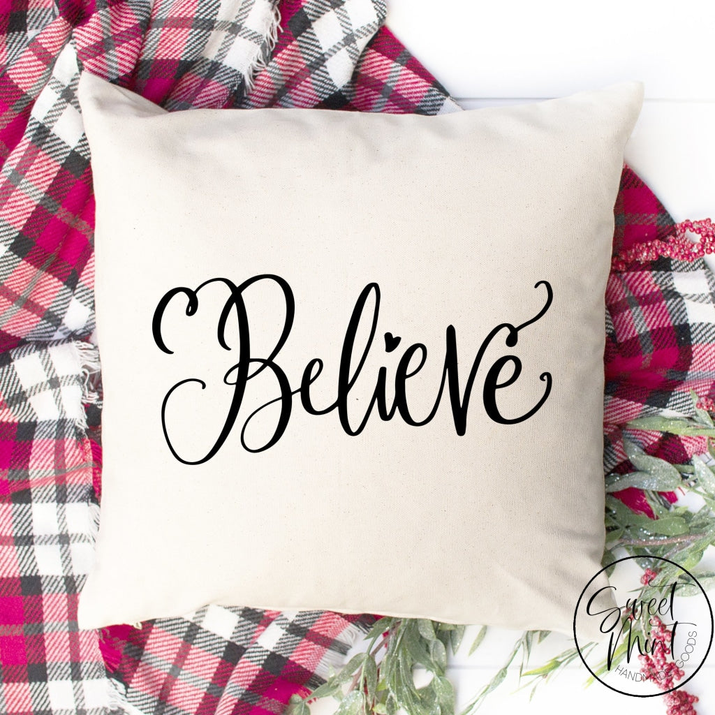 Believe Christmas Pillow Cover - 16 X