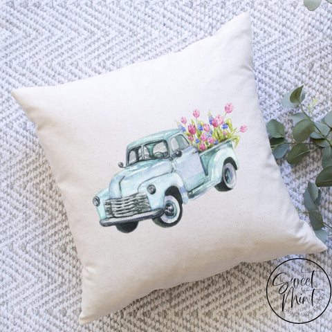 Blue Tulip Truck Pillow Cover - 16X16