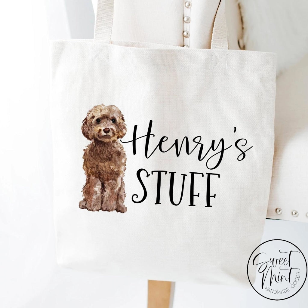 Brown Doodle Tote Bag - Goldendoodle Cockapoo