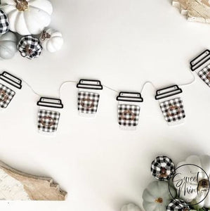 Buffalo Check & Orange Coffee Cup Wooden Garland