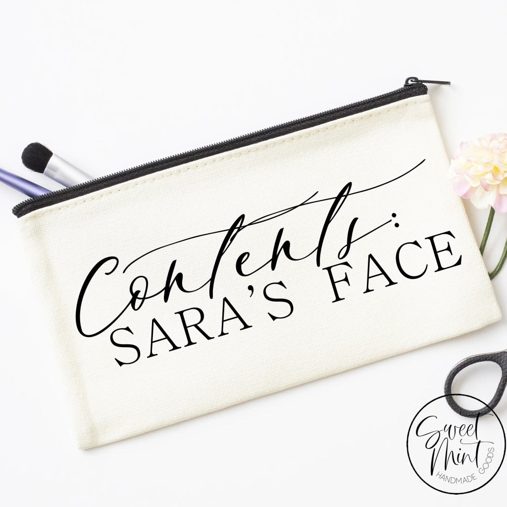 Contents (Custom Names) Face Bag - Funny Cosmetic Bag Makeup