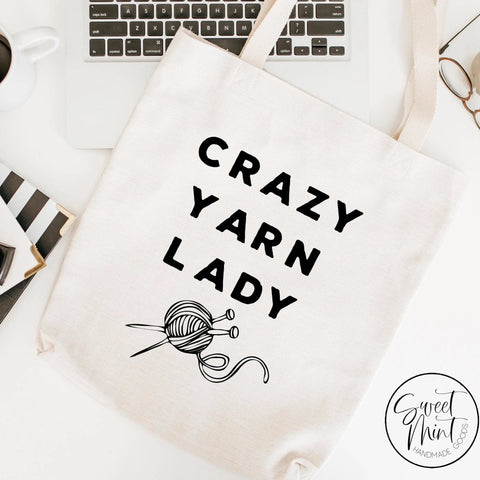 Crazy Yarn Lady Tote Bag