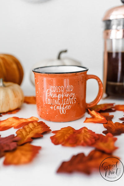 Crisp Air Pumpkins Falling Leaves & Coffee Campfire Mug - Orange