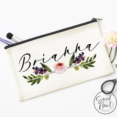 Custom First Name Cosmetic Bag With Floral Design - Makeup / Bridesmaid Gift