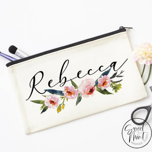 Custom First Name W/ Floral Design Cosmetic Bag - Makeup Bridesmaid Gifts