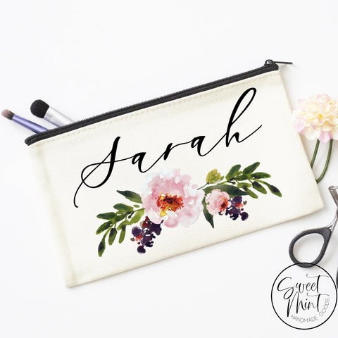 Custom First Name W/ Floral Design Cosmetic Bag - Makeup