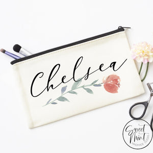 Custom First Name W/ Flower Design Cosmetic Bag - Makeup