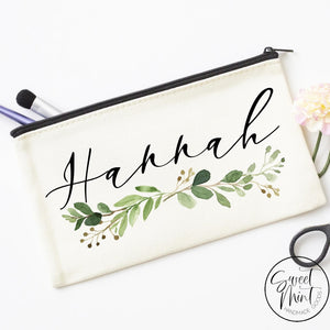 Custom First Name W/ Greenery Cosmetic Bag - Makeup