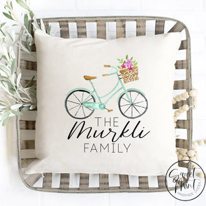 Custom Last Name Family Bike Pillow Cover - 16X16