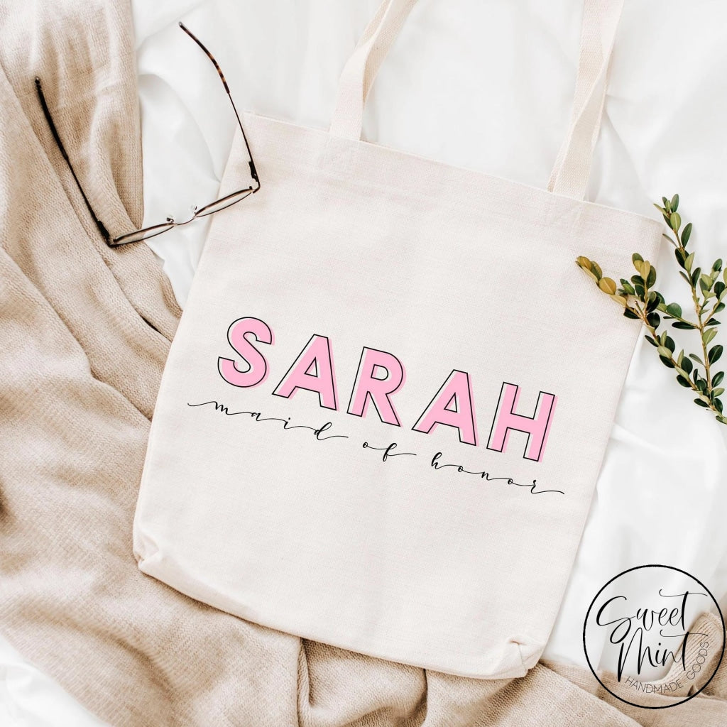 Custom Name Maid Of Honor Tote Bag