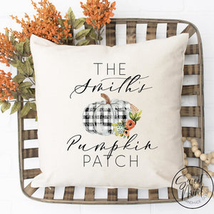 Custom Name Pumpkin Patch Pillow Cover - Fall / Autumn 16X16