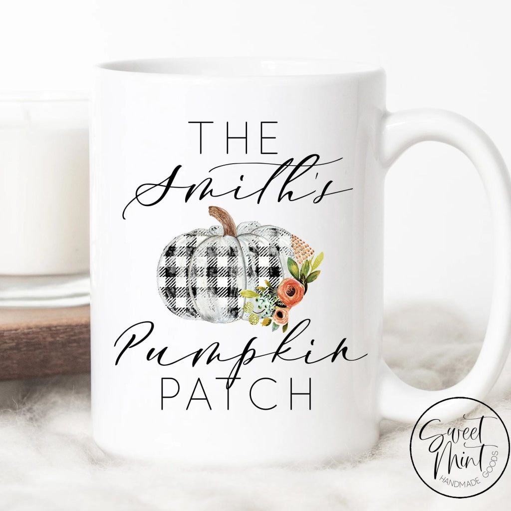 Custom Pumpkin Patch Mug With Buffalo Check Floral - Fall / Autumn