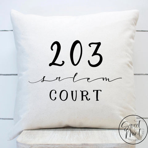 Custom Street Address Pillow Cover - 16X16