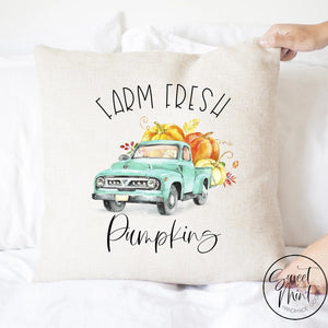 Farm Fresh Pumpkins Blue Truck Pillow Cover - Fall / Autumn 16X16