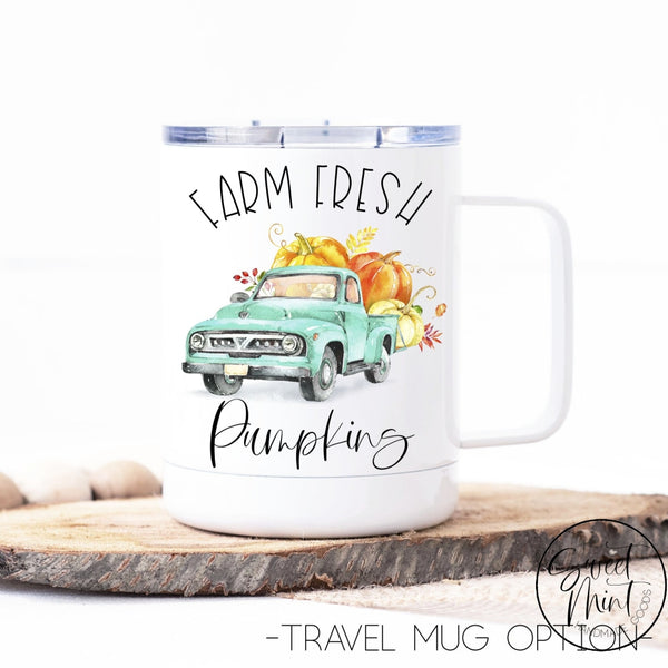 Farm Fresh Pumpkins With Blue Vintage Truck - Fall / Autumn Mug