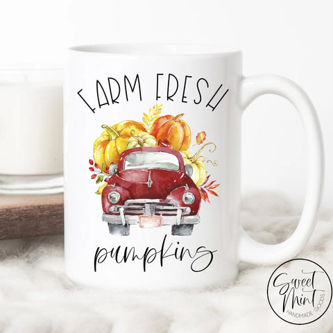 Farm Fresh Pumpkins With Red Vintage Truck - Fall / Autumn Mug