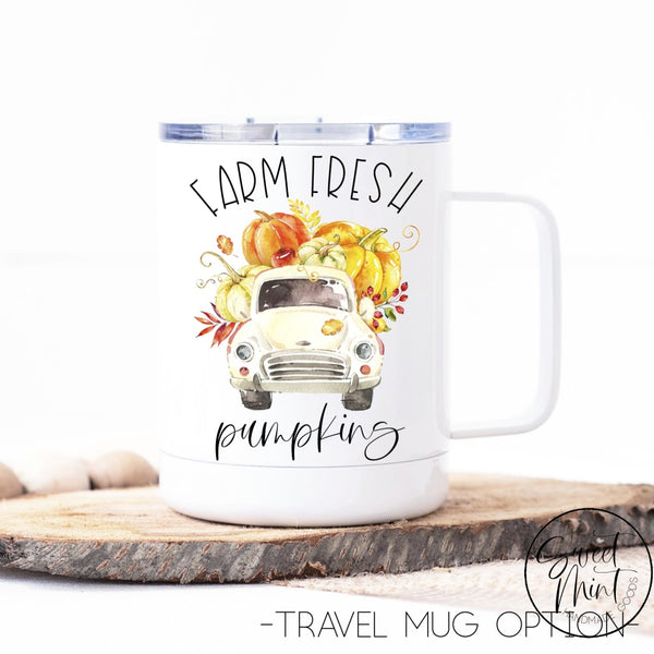 Farm Fresh Pumpkins With White Vintage Truck - Fall / Autumn Mug