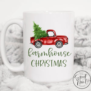 Farmhouse Christmas Mug With Vintage Red Truck