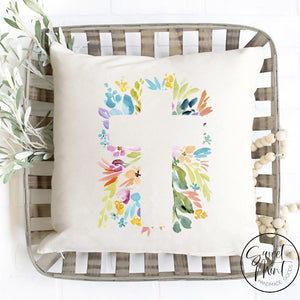 Floral Cross Pillow Cover - 16X16