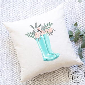 Floral Rainboots Pillow Cover - 16X16