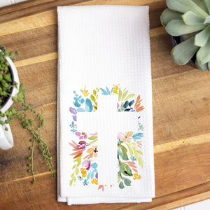 Floral Cross Waffle Towel