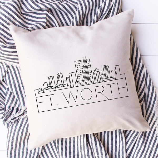 Fort Worth Skyline Pillow Cover