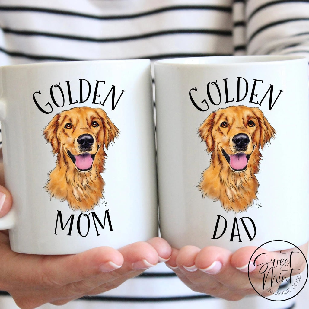 Golden Mom And Dad Mug Set