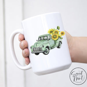 Green Sunflower Truck Mug