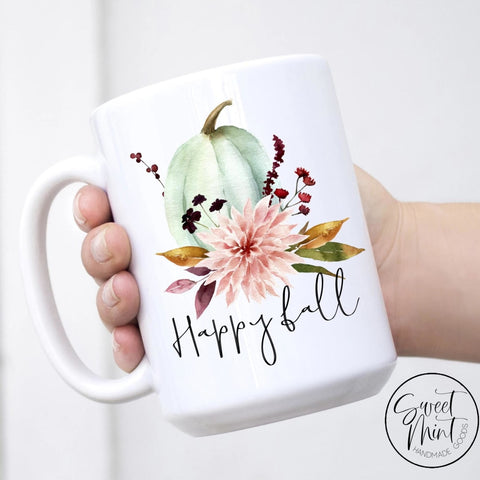 Happy Fall Floral Pumpkin Mug - / Autumn