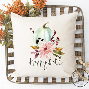 Happy Fall Floral W Blue Pumpkin Pillow Cover - / Autumn 16X16