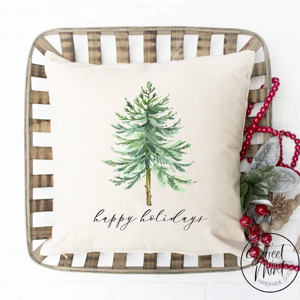 Happy Holidays Tree Pillow Cover - 16 X