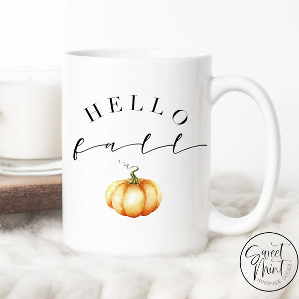 Hello Fall Mug - Orange Pumpkin