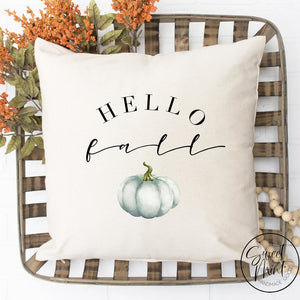Hello Fall Pillow Cover With Blue Pumpkin - / Autumn 16X16