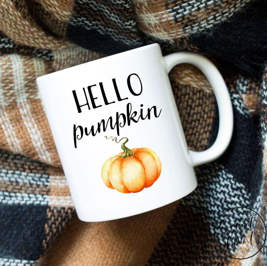 Hello Pumpkin Mug- Orange - Fall / Autumn Mug