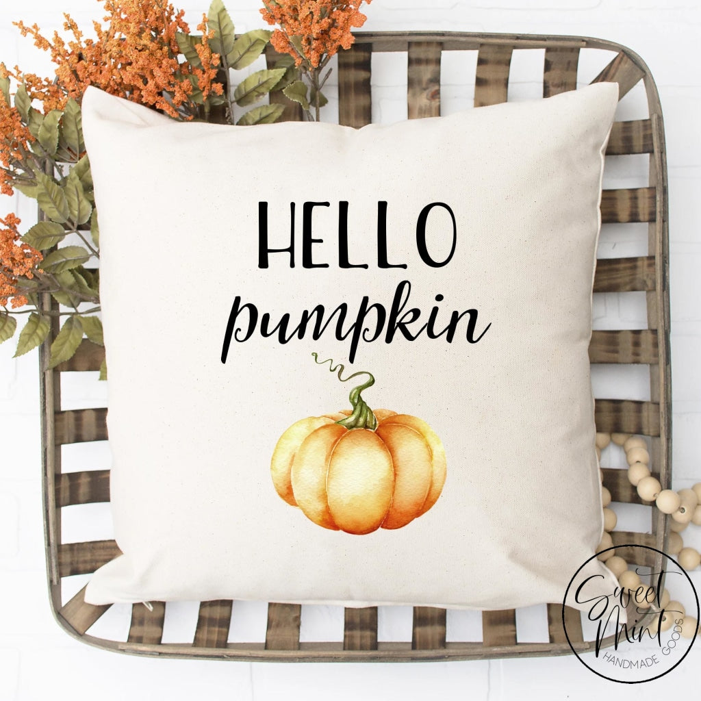 Hello Pumpkin Pillow Cover With Orange - Autumn / Fall 16X16