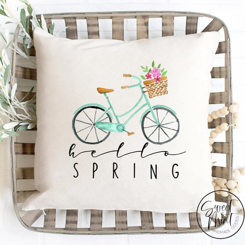Hello Spring Pillow Cover - Bike 16X16