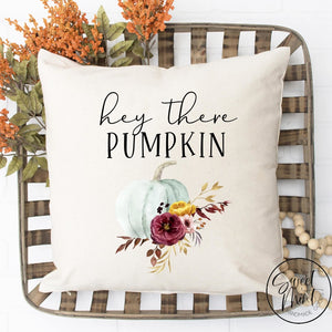 Hey There Pumpkin Floral W Blue Pillow Cover - Fall / Autumn 16X16