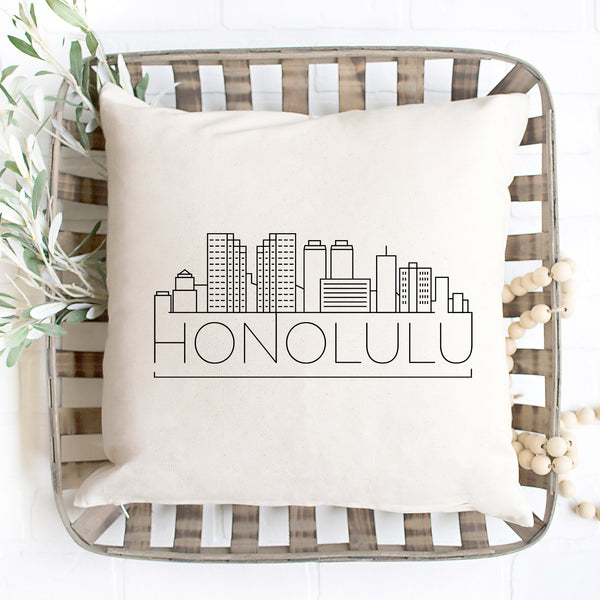 Honolulu Skyline Pillow Cover