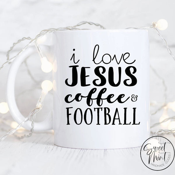 I Love Jesus Coffee And Football Mug