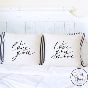 I Love You & More Pair Of Pillow Covers - 16X16 Pillow Cover