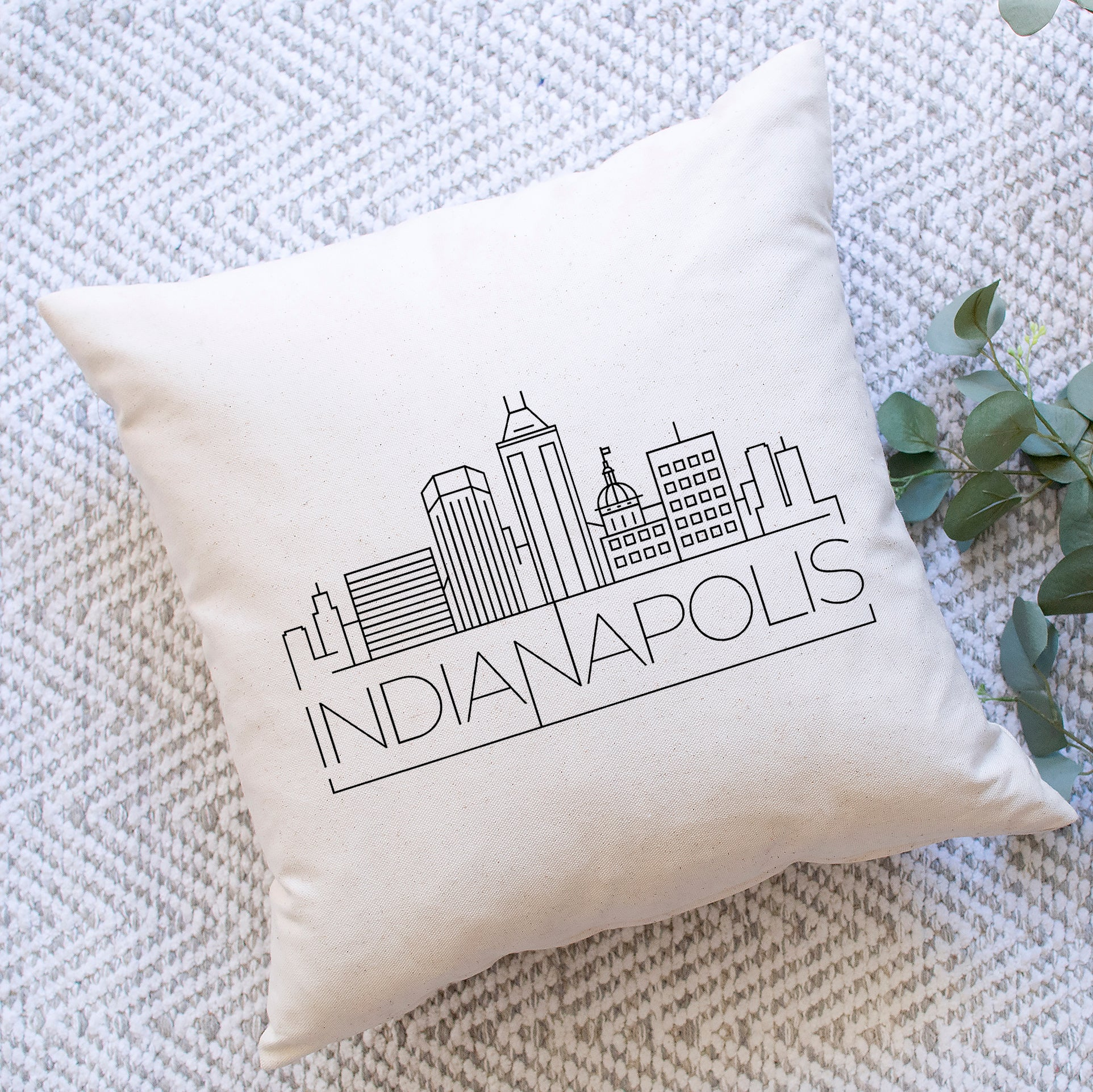 Indianapolis Skyline Pillow Cover