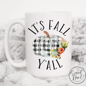 Its Fall Yall Mug - Buffalo Check Pumpkin / Autumn