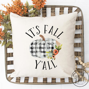 Its Fall Yall Pillow Cover - Buffalo Check / Plaid Autumn 16X16