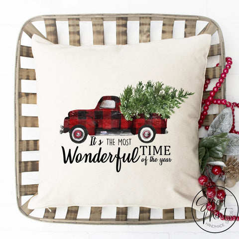 Its The Most Wonderful Time Of Year Pillow Cover - Plaid Red Truck 16X16