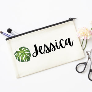 Custom Monstera Leaf Cosmetic Bag