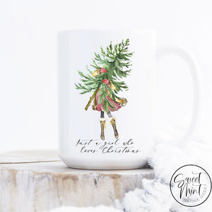Just A Girl Who Loves Christmas Tree And Mug