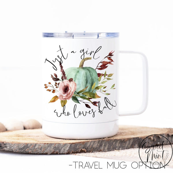 Just A Girl Who Loves Fall Floral Pumpkin Mug - / Autumn