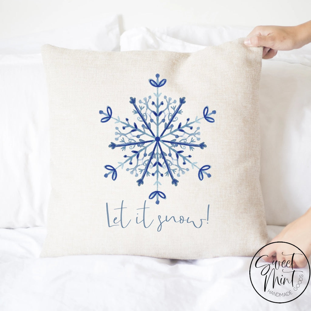Let It Snow Blue Snowflake Pillow Cover - 16 X